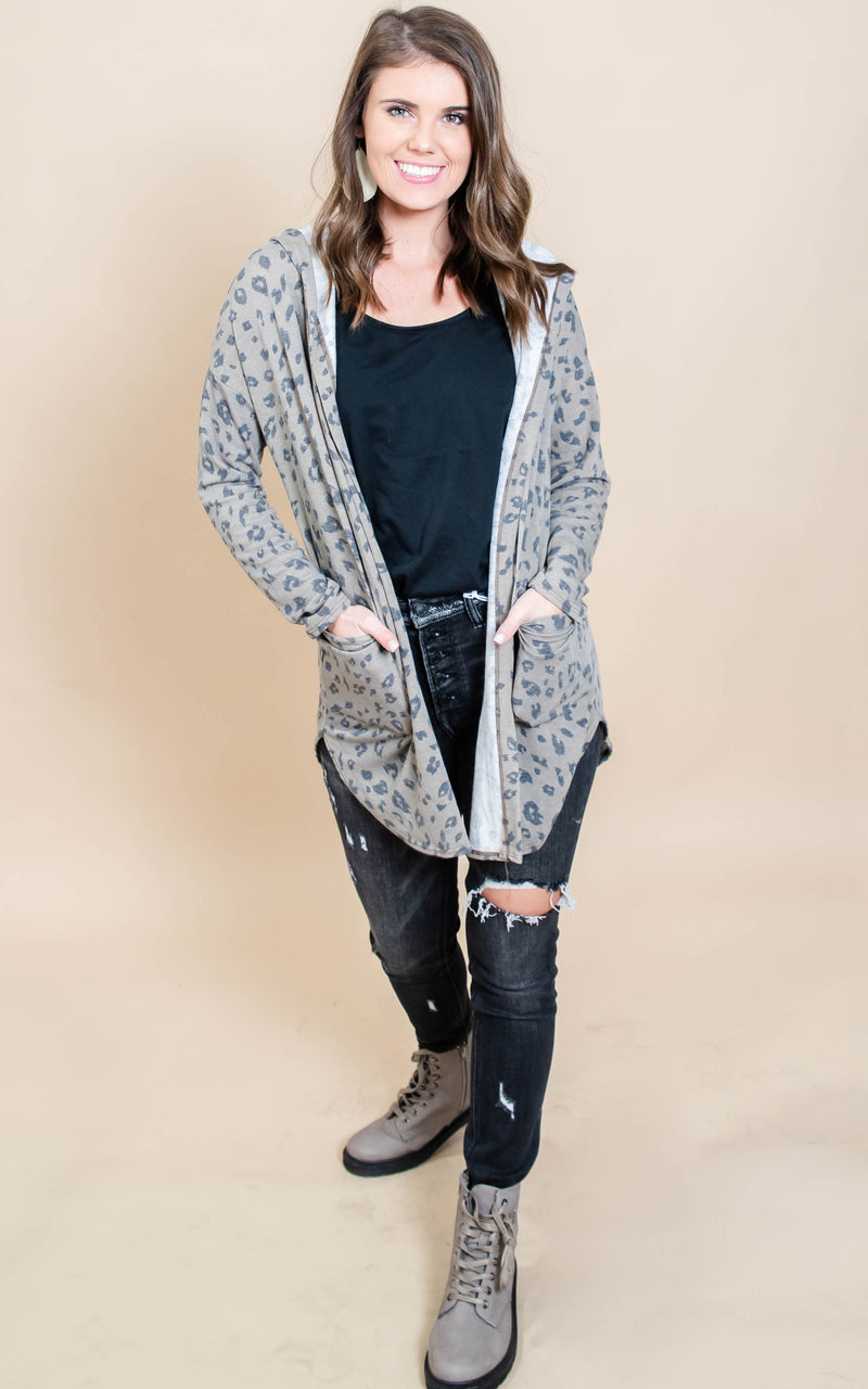 Mocha Leopard Hooded Cardigan | FINAL SALE, CLOTHING, Heimish, BAD HABIT BOUTIQUE
