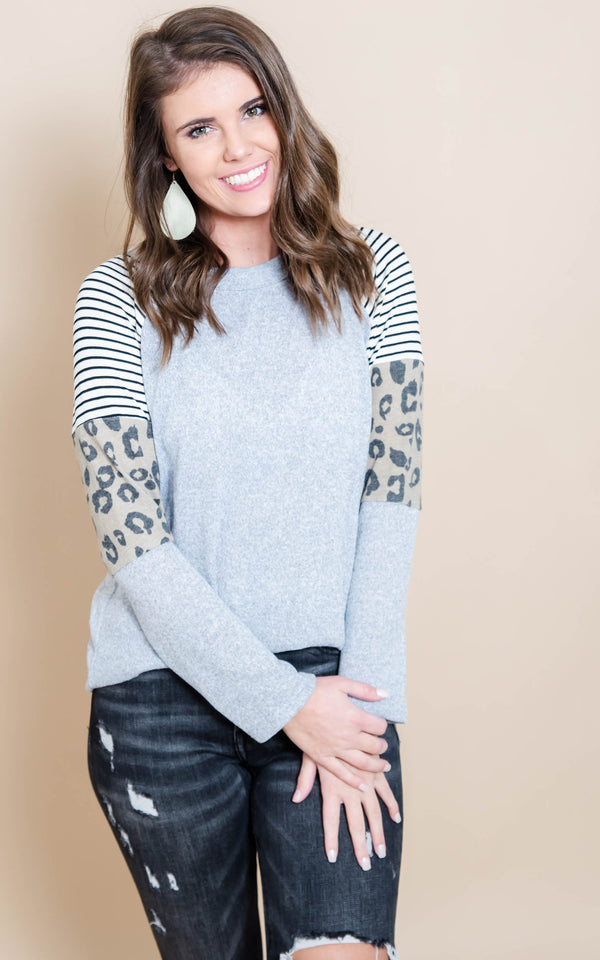 Stripes & Leopard Heather Gray Top, CLOTHING, Heimish, BAD HABIT BOUTIQUE