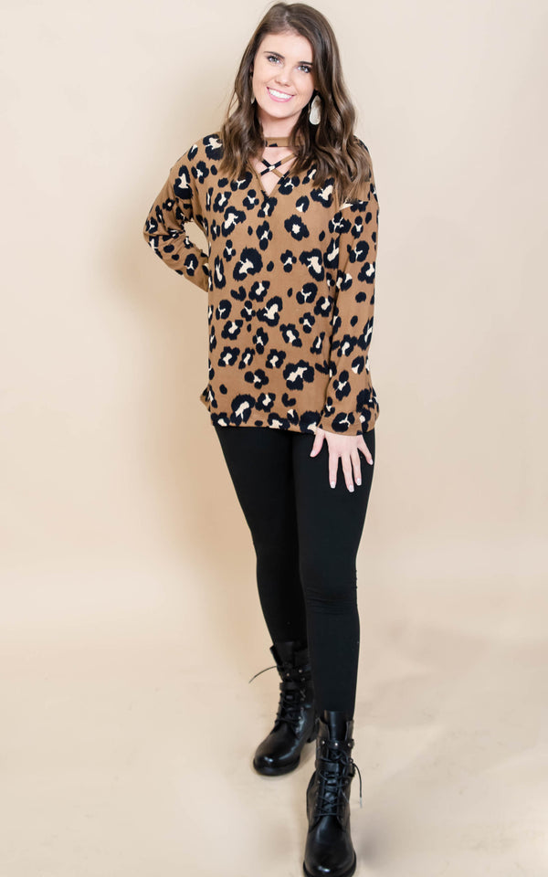 Channel the Wild Cheetah Criss Cross Top, CLOTHING, White Birch, BAD HABIT BOUTIQUE