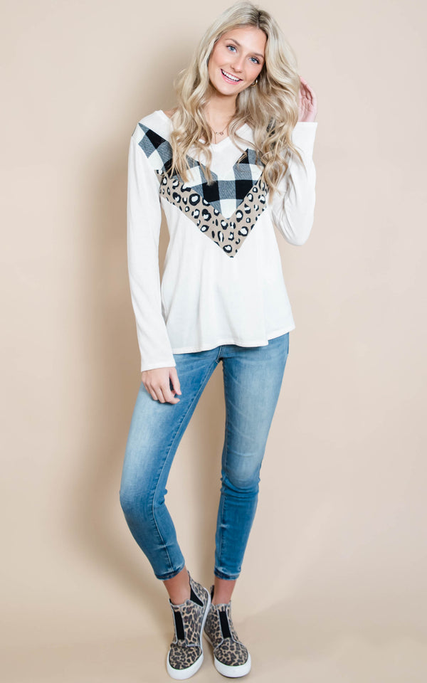 Plaid & Leopard Chevron Top | FINAL SALE, CLOTHING, Heimish, BAD HABIT BOUTIQUE