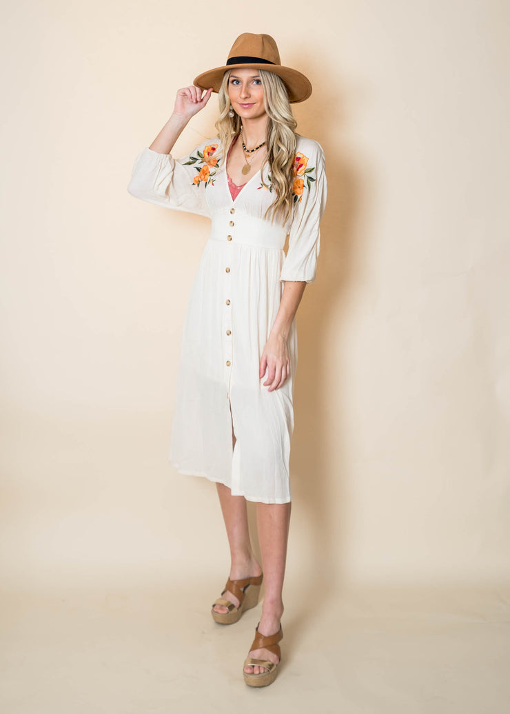 Embroidery Midi Dress, flying tomato dress, embroidery, midi dress, ivory dress, button down dress, floral dress
