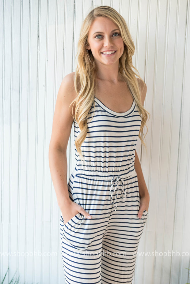 Our navy/white striped jumpsuit with spaghetti straps