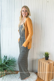 Our striped jumpsuit with a drawstring waist are so comfy