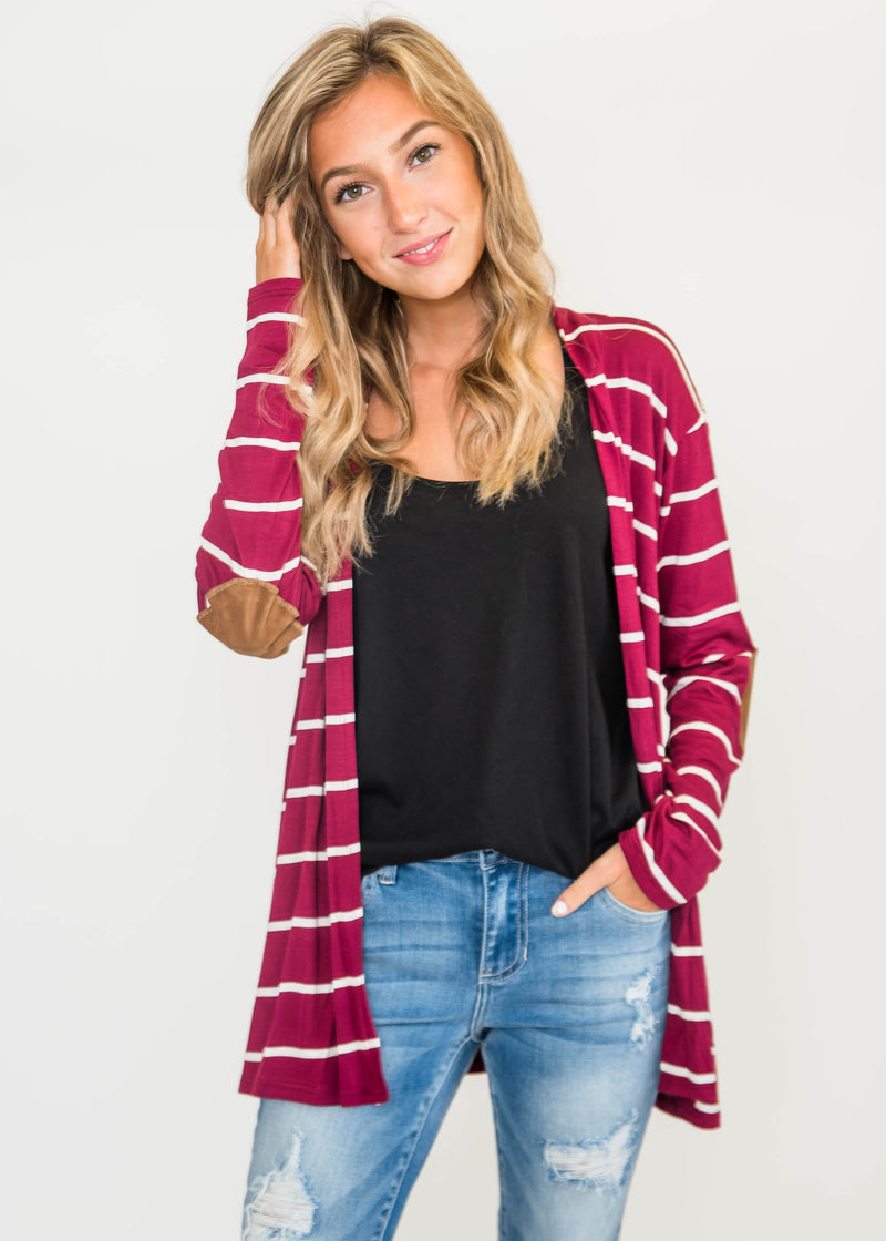 Striped Elbow Patch Cardigan | FINAL SALE, CLOTHING, Heimish, BAD HABIT BOUTIQUE