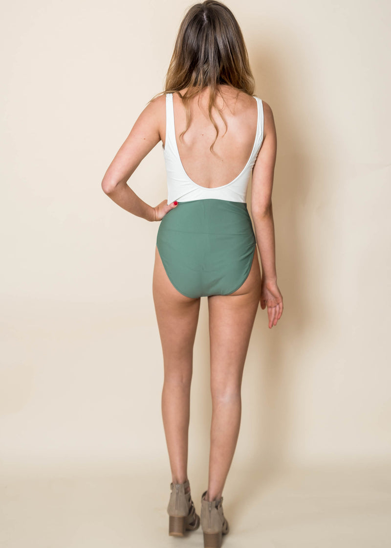 Beach Ready Olive & Ivory Colorblock One Piece | FINAL SALE, CLOTHING, Beach Joy Bikini, BAD HABIT BOUTIQUE