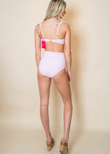 Pink Textured Gingham Two Piece Swimsuit, CLOTHING, Beach Joy Bikini, BAD HABIT BOUTIQUE