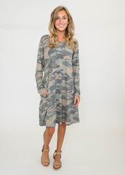 Long Sleeve Camo Dress | FINAL SALE, CLOTHING, HEMISIH, BAD HABIT BOUTIQUE