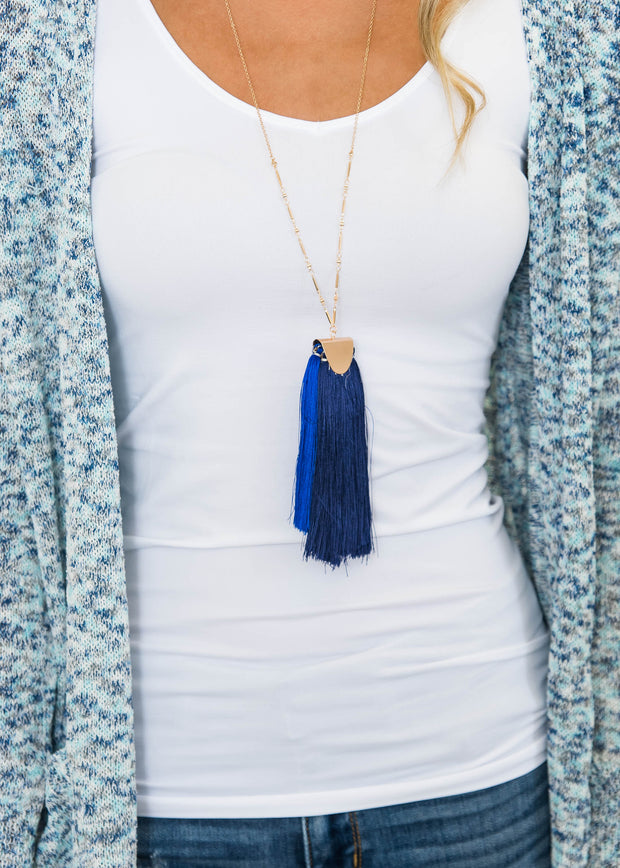 shaggy blue navy long necklace