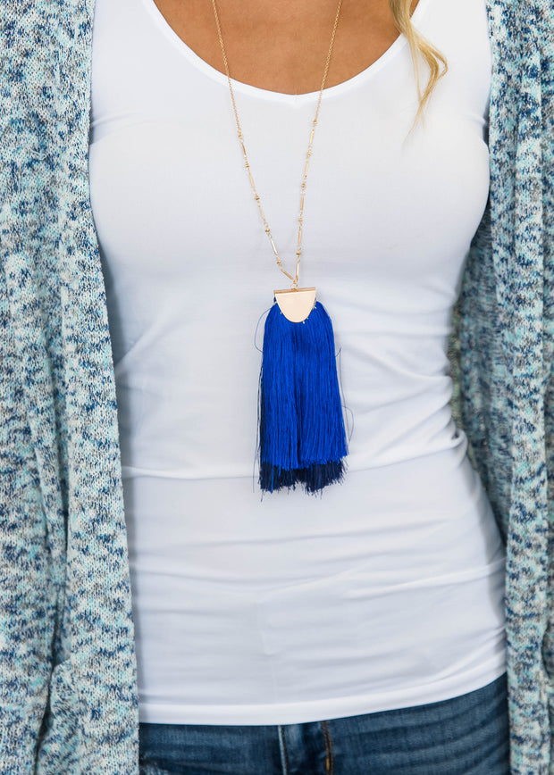 blue fringe long necklace
