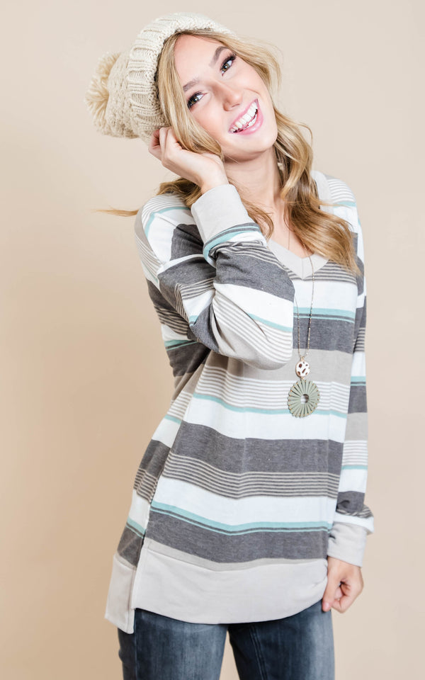 Stripe V-Neck Top | FINAL SALE, CLOTHING, White Birch, BAD HABIT BOUTIQUE