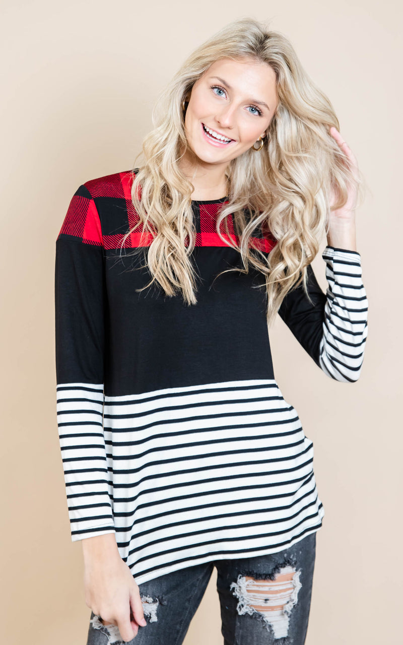 Buffalo Plaid Contrast Top, CLOTHING, Heimish, BAD HABIT BOUTIQUE