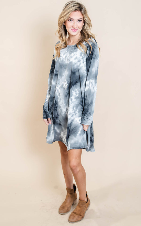 Tie Dye Dress - Black/Ivory | FINAL SALE, CLOTHING, Heimish, BAD HABIT BOUTIQUE