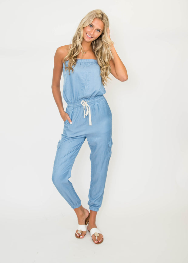 Chambray Tube Jumpsuit | FINAL SALE