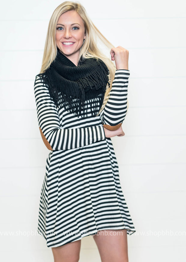 This striped suede elbow patch dress can be worn alone or with leggings.