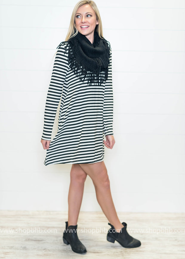 Our striped swing dress with elbow patches is perfect for Fall.