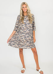 3/4 Sleeve Camo Dress, CLOTHING, HEMISIH, BAD HABIT BOUTIQUE