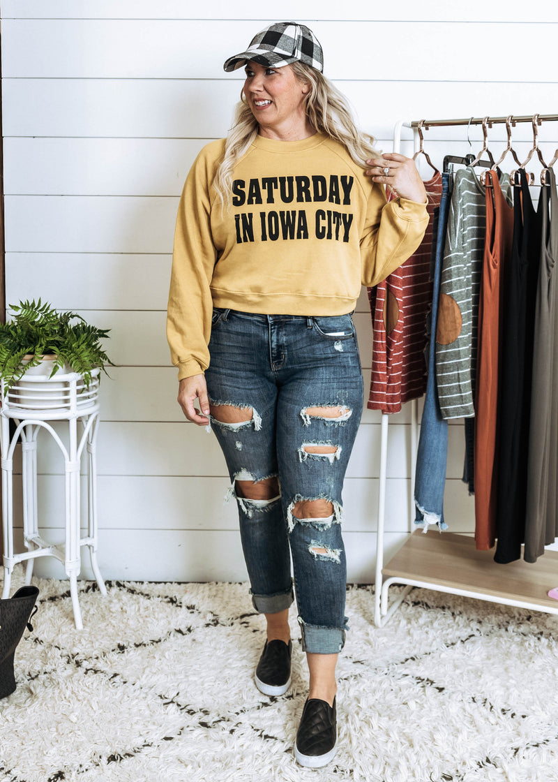 Saturday In Iowa City Cropped Sweater - BAD HABIT BOUTIQUE