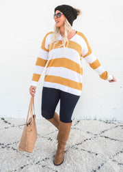 mustard striped vneck sweater