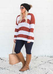 brick striped vneck sweater