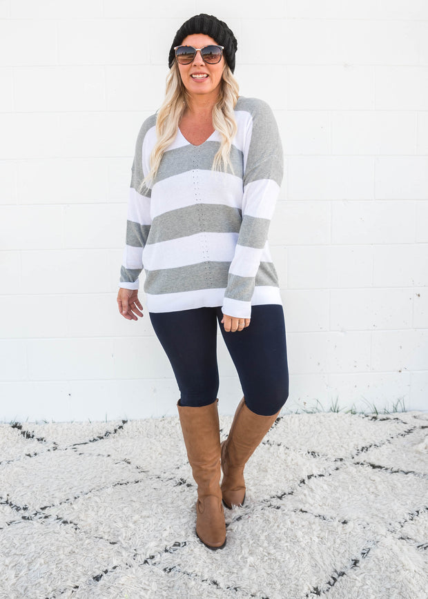 heather grey striped vneck sweater