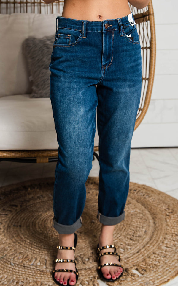 judy blue dark denim boyfriend fit