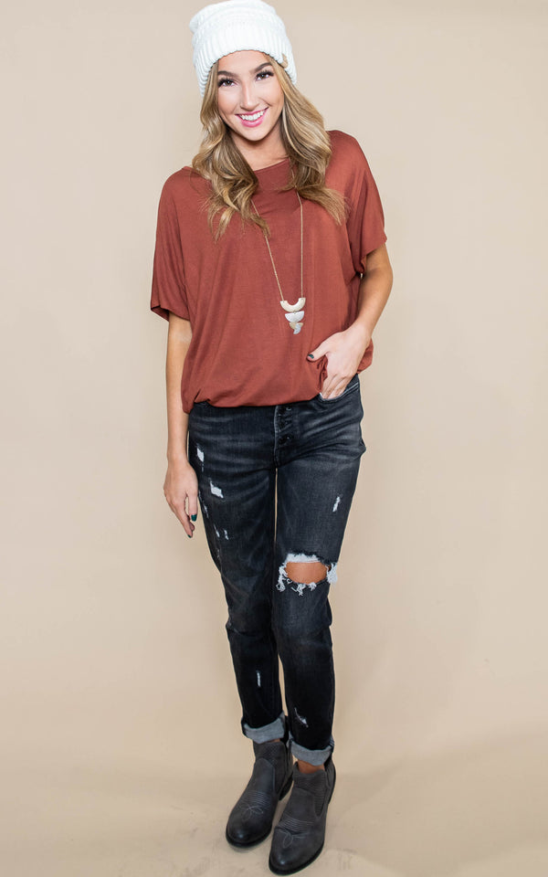 Piko Short Sleeve Dolman Top, CLOTHING, A.Gain, BAD HABIT BOUTIQUE