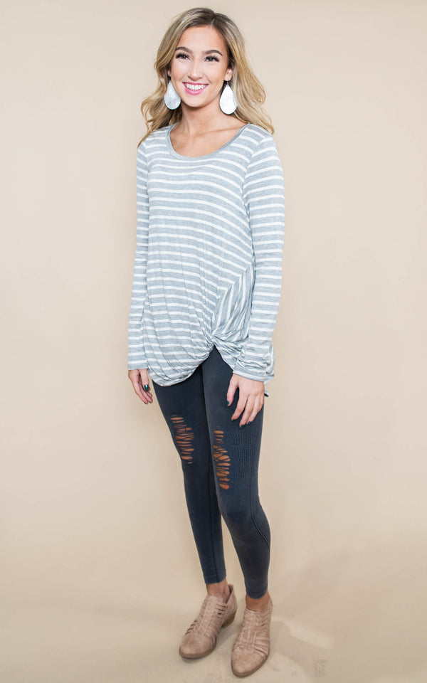 grey white stripe long sleeve top