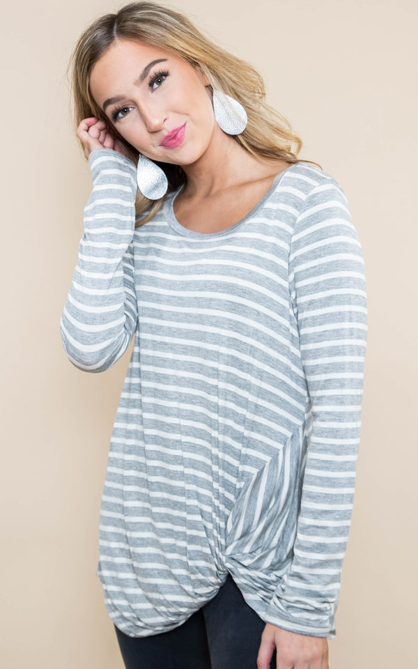 grey white stripe long sleeve knot top