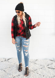 buffalo plaid long sleeve top with front twist