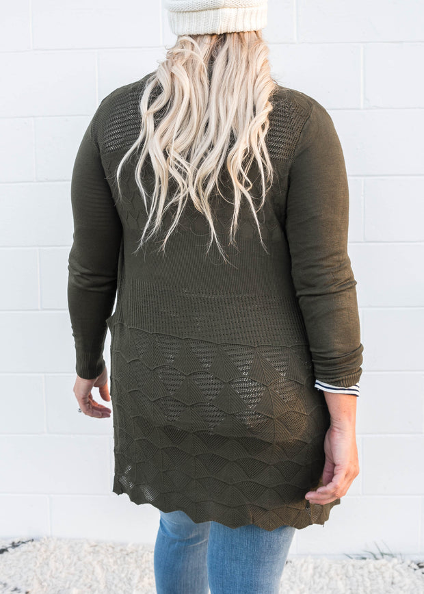 olive light weight knit cardigan with it's pointelle details aka lace effect