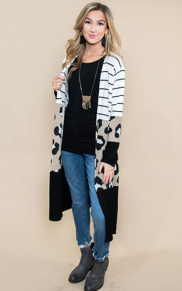 color block striped cheetah duster