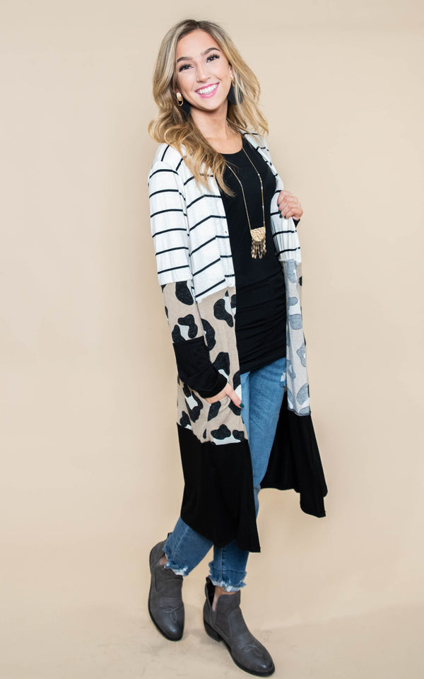 colorblock striped cheetah duster