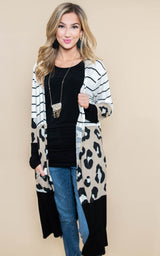 Cheetah Color Block Duster Cardigan, CLOTHING, Heimish, BAD HABIT BOUTIQUE