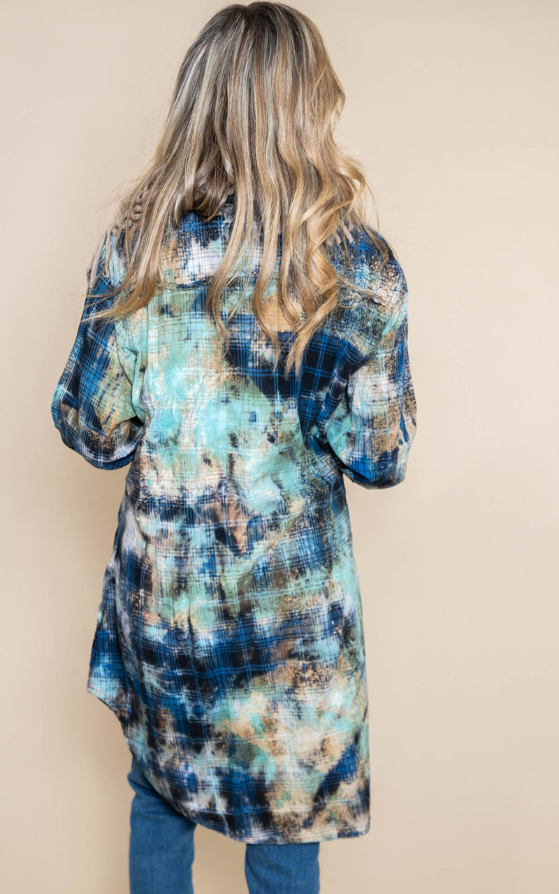 Custom Bleach Long Flannel Top | FINAL SALE, CLOTHING, A RARE BIRD, BAD HABIT BOUTIQUE
