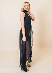 Mock Neck Surplice Maxi Short Dress | Black