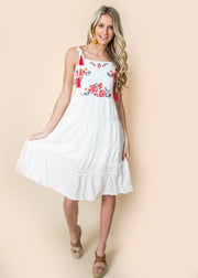 rose embroidered ivory dress tank women