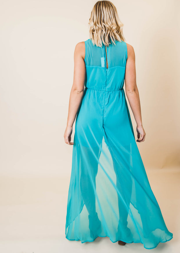 Mock Neck Surplice Maxi Short Dress | Emerald Green
