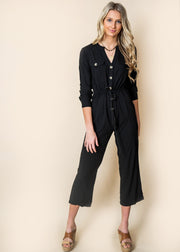 black button up jumper jumpsuit women