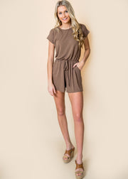 solid romper women short sleeve olive ash gray mocha black