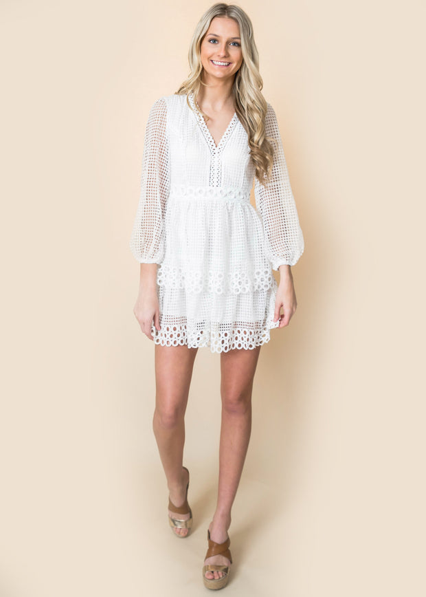 long sleeve bishop crochet netted puff sleeve layered dress white