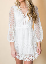 Crochet Puff Sleeve White Dress | FINAL SALE, CLOTHING, Flying Tomato, BAD HABIT BOUTIQUE