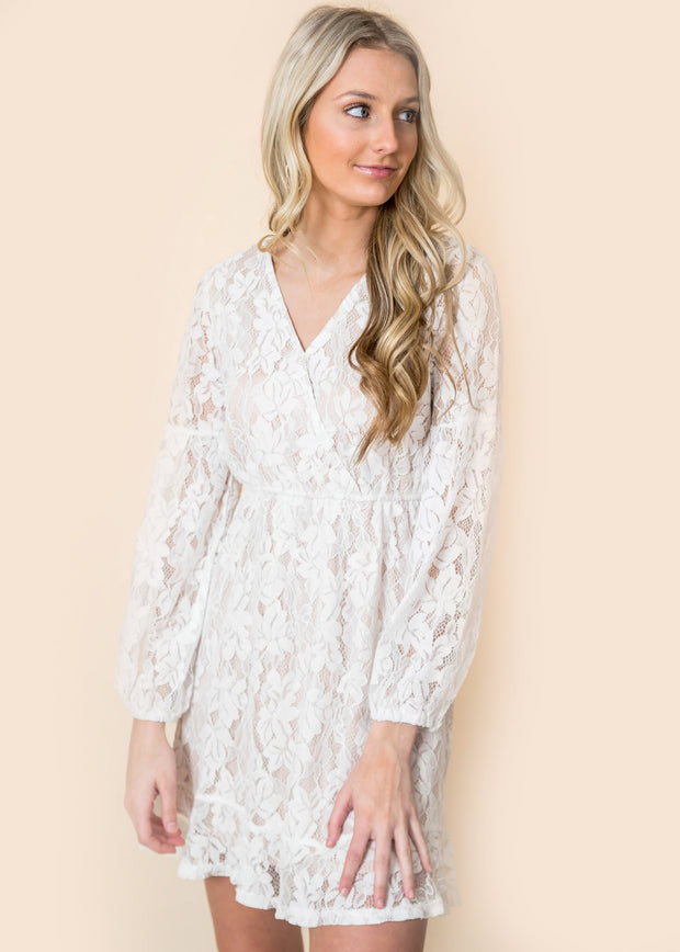 lace wrap lantern bishop sleeve nude layer women dress