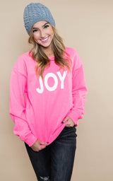 30 DAYS 30 DEALS:  JOY Sweatshirt -Hot Pink, CLOTHING, BAD HABIT APPAREL, BAD HABIT BOUTIQUE
