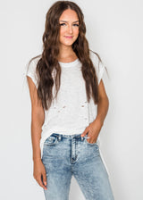 Oversized Cap Sleeve Distressed Top, CLOTHING, Emory Park, BAD HABIT BOUTIQUE