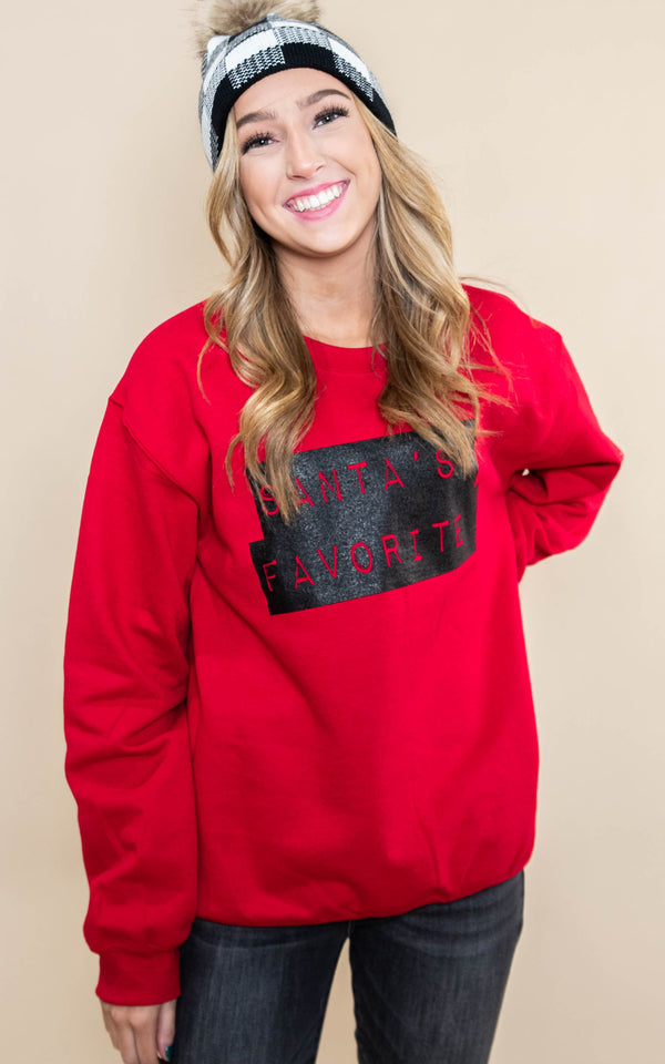 30 DAYS 30 DEALS: DAY 4 Santa's Favorite  Sweatshirt - Red, CLOTHING, BAD HABIT APPAREL, BAD HABIT BOUTIQUE