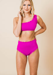 Ocean Dreams Fuchsia Scallop One Shoulder Top and Highwaisted Bottom Bikini | FINAL SALE, CLOTHING, Beach Joy Bikini, BAD HABIT BOUTIQUE
