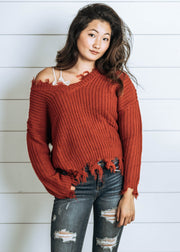 distressed rust knit sweater, sweater, cropped sweater