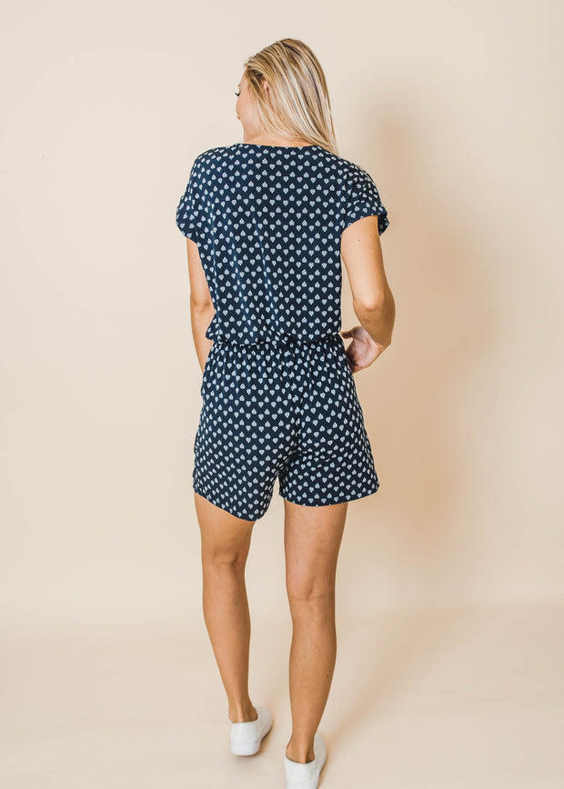 romper navy and white