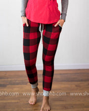 Buffalo Plaid Jogger- Black /Red