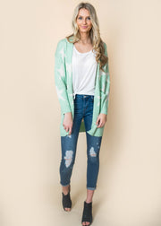 star mint mid length women cardigan with pockets
